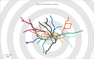 screenshot of Tom Carden's travel time tube map